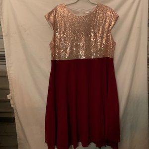 Rose Gal Women's Sequin Top/Red Skirt Dress 3X NWT